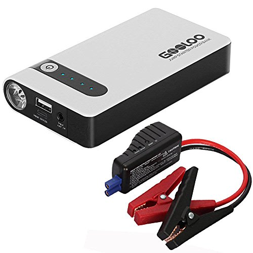 GOOLOO 450A Peak Car Jump Starter (Up to 4.0L Gas or 2.5L Diesel Engine) Portable Phone Power Bank 12V Auto Battery Pack Booster Charger with LED Light and Multiple Protected Smart Clamp, Black/White (Car Starter Lithium Ion)