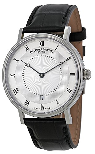 Frederique Constant Men's 'Slim Line' Silver Dial Black Leather Strap Stainless Steel Swiss Automatic Watch  FC-306MC4S36 by Frederique Constant