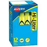 Avery Hi-Liter, tinta Smear Safe, no tóxica, 12 resaltadores de color amarillo fluorescente de estilo de escritorio (24000)