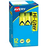 Avery Hi-Liter, Smear Safe Ink, Non-Toxic, 12 Desk Style Fluorescent Yellow Highlighters (24000)