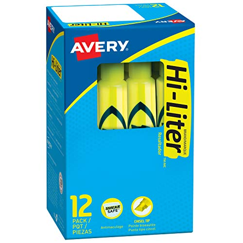 Avery Hi-Liter, Smear Safe Ink, Non-Toxic, 12 Desk Style Fluorescent Yellow Highlighters (24000) Avery Hi Liter Fluorescent