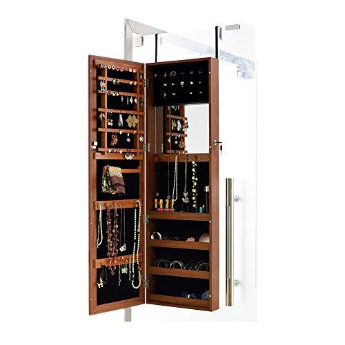 Facilehome Mirror Jewelry Armoire Cabinet Wall or Door Mounted Jewelry Storage Organizer Box,Oak