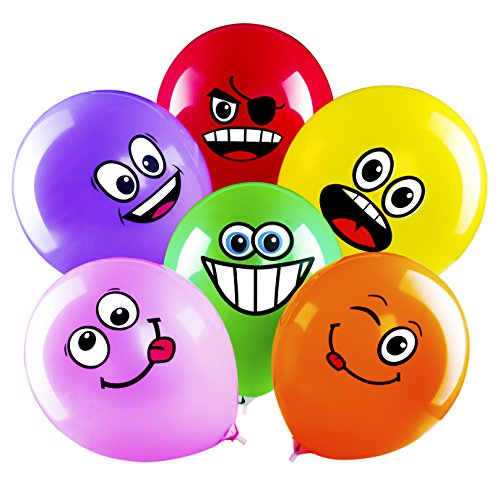 Sepco Latex Smile Face Balloons Emotion Expression Multicolor Balloons for Party Decoration (Set of 100pcs) ()