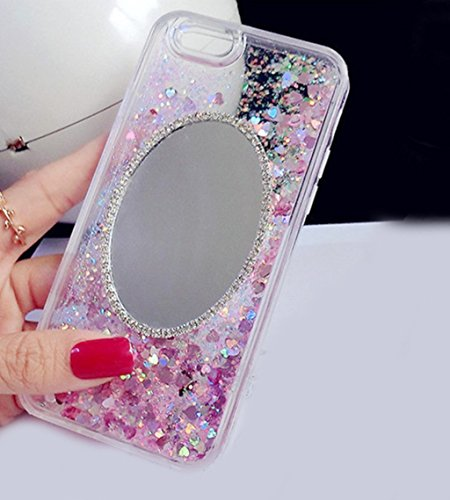 Price comparison product image iPhone 6 Mirror Case, Inspirationc Luxury Bling Diamond Mirror Glass Cover for iPhone 6 / 6S 4.7 Inch Dynamic Glitter Flowing Liquid Quicksand Clear Case for Girls Women--Pink