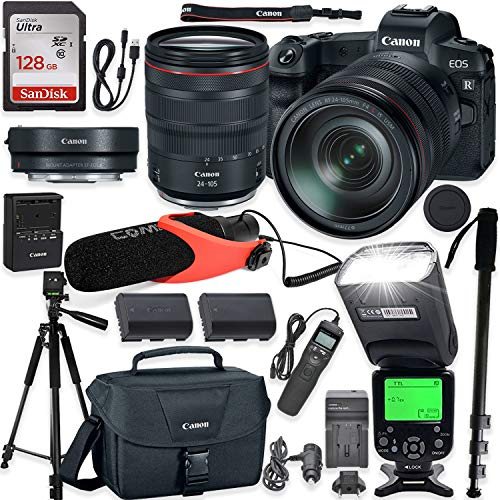 Canon EOS R Mirrorless Digital Camera with RF 24-105mm f/4L is USM Lens & Mount Adapter EF-EOS R Kit + TTL Speedlight Flash + Comica Microphone + 60 Inch Tripod + 128GB Memory with Accessory Kit