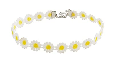 Amazon yellow white daisy flower choker necklace vintage yellow white daisy flower choker necklace vintage sunflower gothic collar white lace daisy chain choker necklace mightylinksfo Choice Image