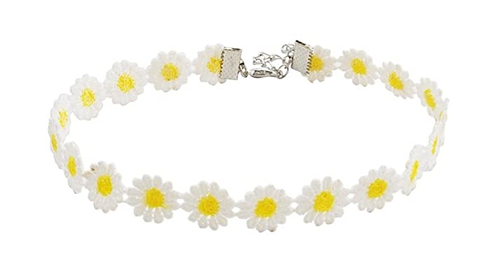 1960s Jewelry Styles and Trends to Wear Yellow White Daisy Flower Choker Necklace Vintage Sunflower Gothic Collar White Lace Daisy Chain Choker Necklace for Women $6.49 AT vintagedancer.com