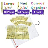 neeyeetag Clothespins Large Size 3.74'' 40 Pack Medium Size 2.36'' 40 Pack, Natural Bamboo Heavy Duty a Hanging Canvas Bag
