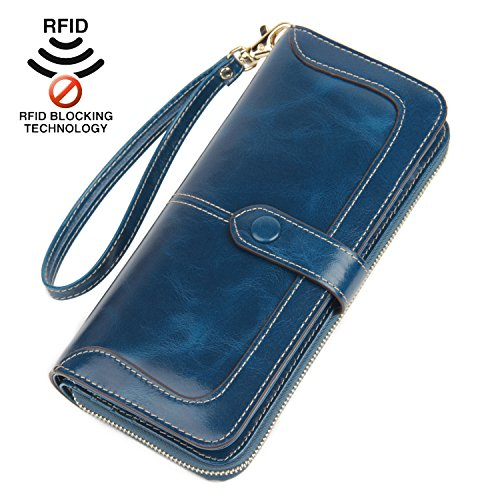 D Blocking Large Capacity Leather Clutch Wallet Zipper Purse Ladies Credit Card Holder Organizer(Blue) ()