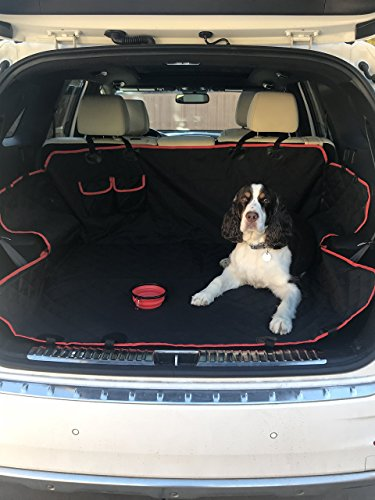 Flextyle Pets - Seat Cover for Pets Waterproof Nonslip Protector Dog Hammock with Pockets and Protective Side Flaps for Cars Trucks and SUVs - Large Size w/ Bonus Collapsible Food and Water Bowls
