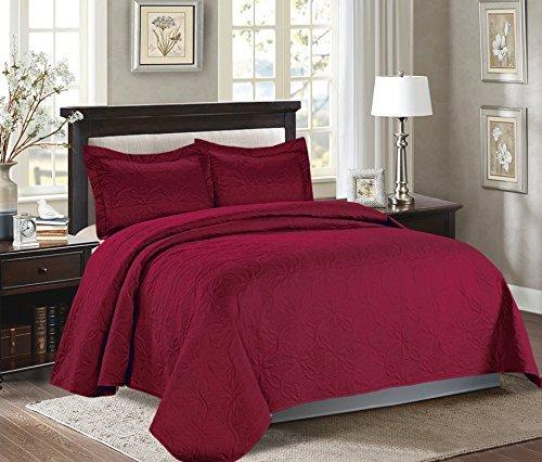 Majiija Oversized 3 Piece Embossed Quilted Bedspread Coverlet Set 106″x118″ King, Burgundy