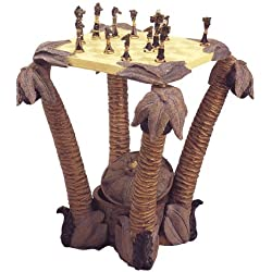 Palm Tree Chess Table with Animal Figurine Chess Pieces (My House of Gifts)