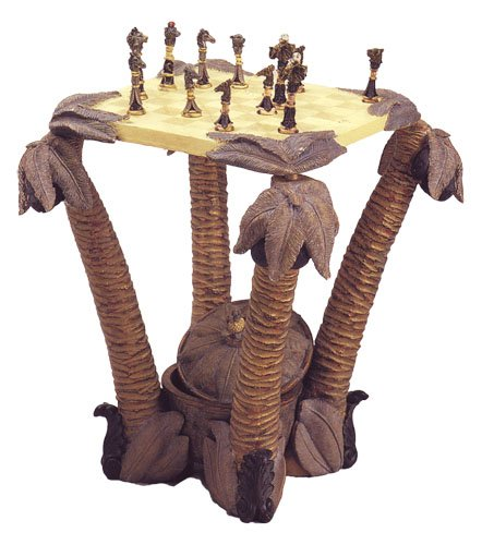 Palm Tree Chess Table with Animal Figurine Chess Pieces (My House of Gifts) Antique Chess Table