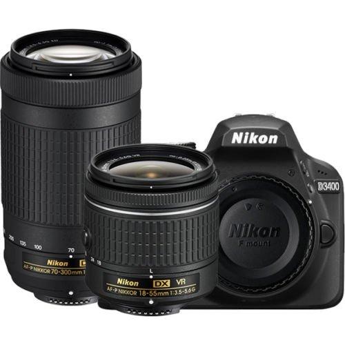 Nikon D3400 DSLR Camera with AF-P DX NIKKOR 18-55mm f/3.5-5.6G VR and AF-P DX NIKKOR 70-300mm f/4.5-6.3G ED (Certified Refurbished)