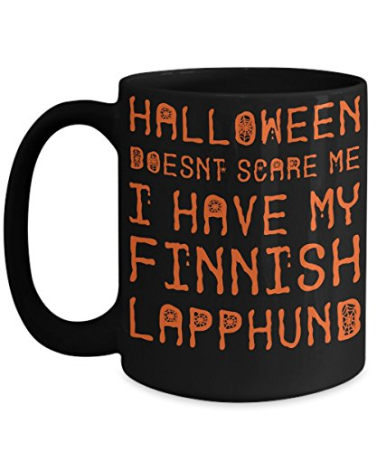 Halloween Finnish Lapphund Mug - White 11oz Ceramic Tea Coffee Cup - Perfect For Travel And Gifts -
