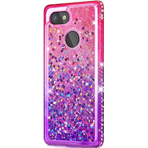 Price comparison product image Case for Google Pixel 3, Girl Women Flowing Floating Liquid Quicksand Bling Glitter Sparkle Rhinestone Diamond Bumper Soft Gradient Color TPU Case Cover for Google Pixel 3 Bling Case, Pink Purple