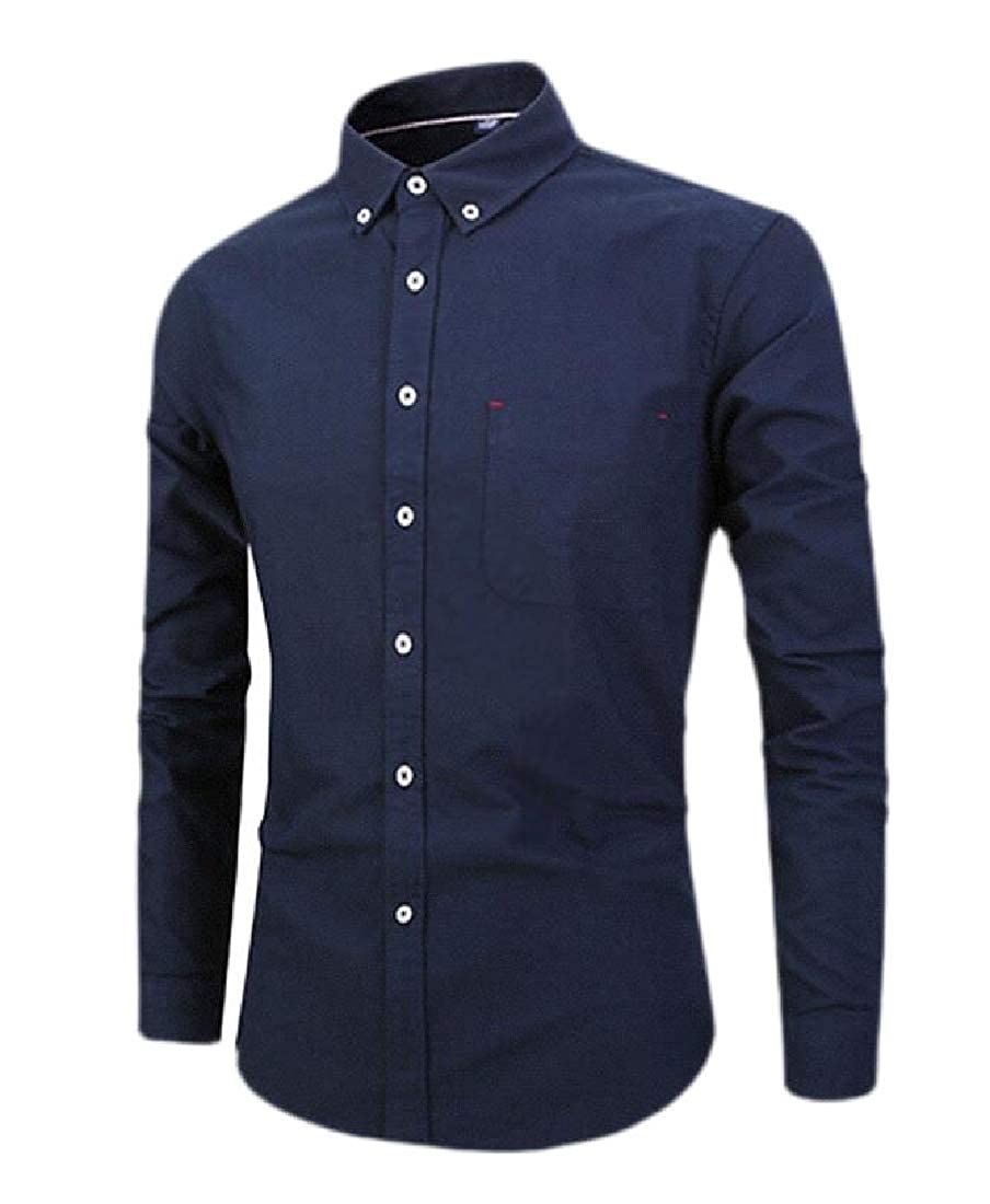 Etecredpow Men Button Down Lapel Business Long Sleeve Solid Pockets Shirt