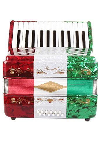 Rossetti Beginner Piano Accordion 12 Bass 25 Keys Mexican Flag by Rossetti