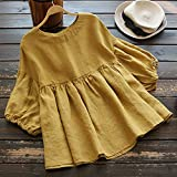 XOWRTE Blouse for Women Yellow Long Sleeve Lantern Sleeve T-Shirt Women Autumn Round Neck Linen Half Solid Elastic Tops