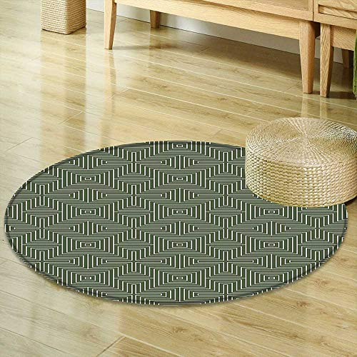Mikihome Print Area Rug Geometric Zig Zag Chevron Lined Pattern Cross Shapes Optical Design Forest Green Reseda Green White Perfect for Any Room, Floor Carpet R-47