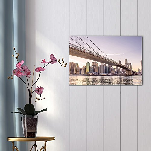Watercolor Style Architectural Detail of Brooklyn Bridge in New York City U S A