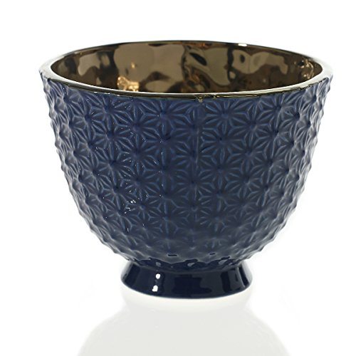 Blue Compote (Ceramic Vase, Moorish Textured Compote, Planter Bowl, 4.5 inches, Blue)