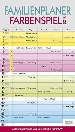 Familienplaner Farbenspiel 2018: Familienkalender, 5 breite Spalten, guter Überblick durch farbliche Wochen. Mit Ferienterminen, Vorschau bis März 2019 und nützlichen Zusatzinformationen.