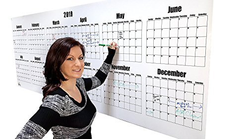 Erasable Planner (Large Wall Calendar - 2019 Dry Erase Year Planning Calendar- 36