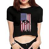 Wrestling American Flag Summer Womens Sexy Revealed Navel T-Shirt Custom Short-Sleeved Navel Blouse Tops T Shirt