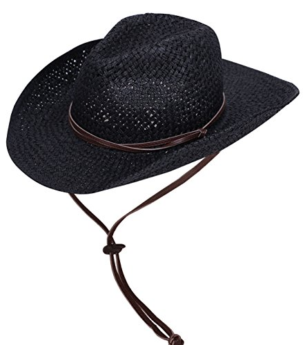 [Simplicity Men's Straw Cowboy Hat w/ PU Leather Band & Chin Strap Black] (Farmers Dress Up Costumes)