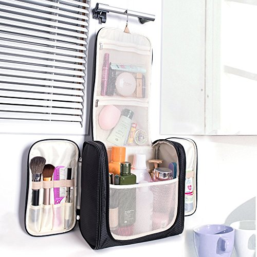 Travel Hanging Toiletry Bag, Waterproof Cosmetics Makeup Toiletry Organizer, Compact Bathroom Storage Organizer, Travel Kit Perfect For Beauty Accessories, Personal Items, Shampoo and Body Wash by MIU COLOR (Image #5)