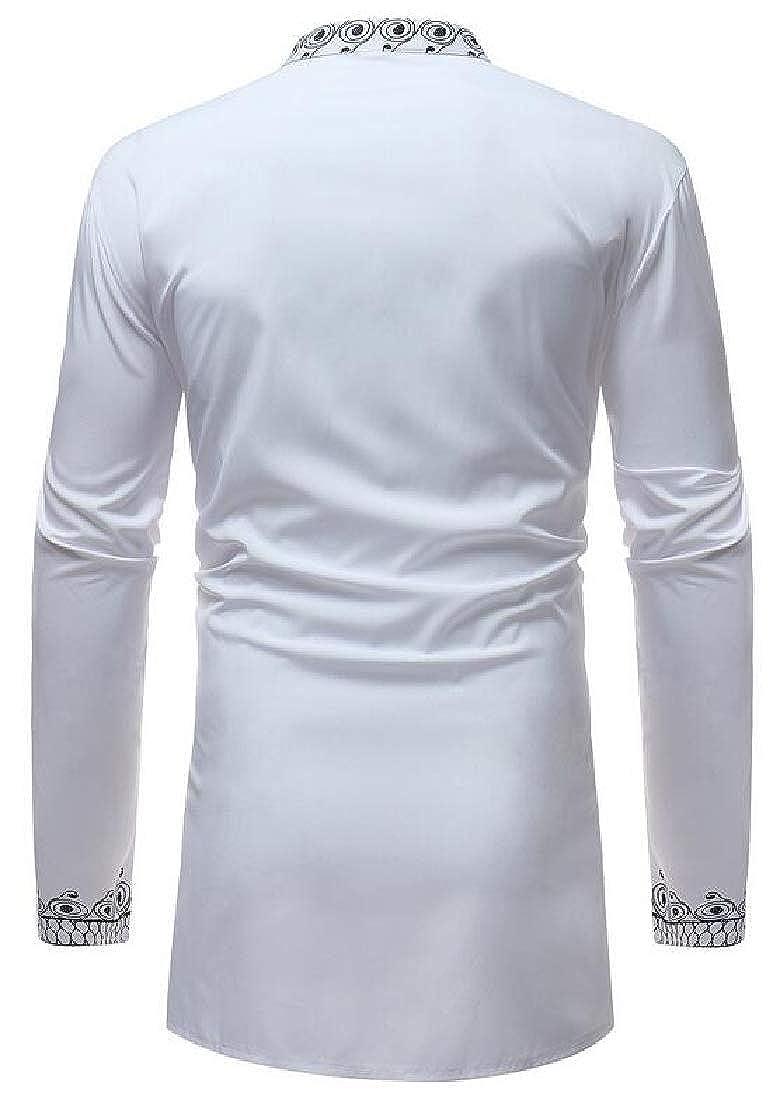 OTW Mens Longline African Print Dashiki Plus Size Long Sleeve Stand Collar Shirt Blouse