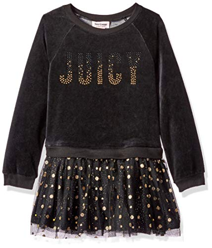 Juicy Couture Girls' Toddler Dress, Black/Gold, -