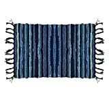 OJIA Cotton Reversible Rag Rug Hand Woven Multi Color Striped Chindi Area Rug Entryway For Laundry Room Kitchen Bathroom Bedroom Dorm (3' x 5', Blue)