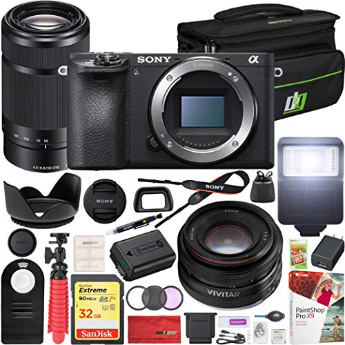 Sony a6500 4K Mirrorless Camera ILCE-6500/B Body Only E 55-210mm F4.5-6.3 Lens and Vivitar 50mm F2.0 Prime Lens + Deco Gear Case Flash Remote & Filter Kit Pro Bundle