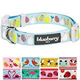 "Blueberry Pet 9 Patterns Easter Bunny and Egg Designer Dog Collar in Sky Blue, Small, Neck 12""-16"", Adjustable Collars for Puppy Dogs"