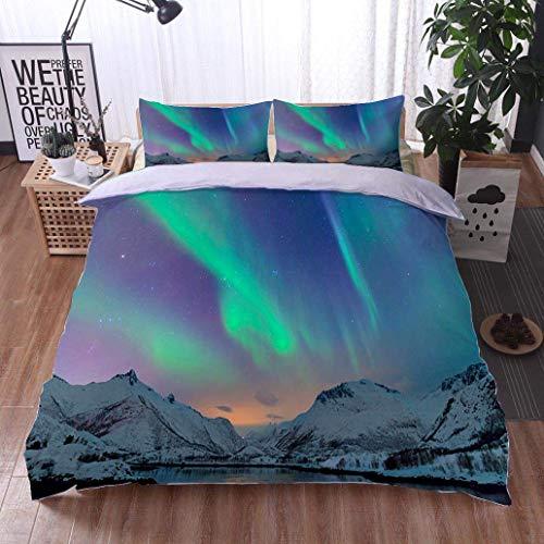 Island European Sham - VROSELV-HOME European Style Print Bed Set,Northern Lights Over The Lofoten Islands in Norway,Soft,Breathable,Hypoallergenic,Bedding Sets,1 Duvet Cover,1 Pillowcase