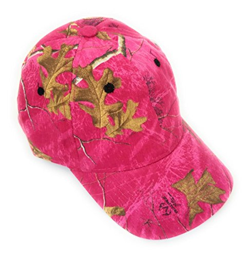 Ladies Camo Cap - Realtree Camo Camouflage Adjustable Western Cowgirl Hat Cap (Pink)