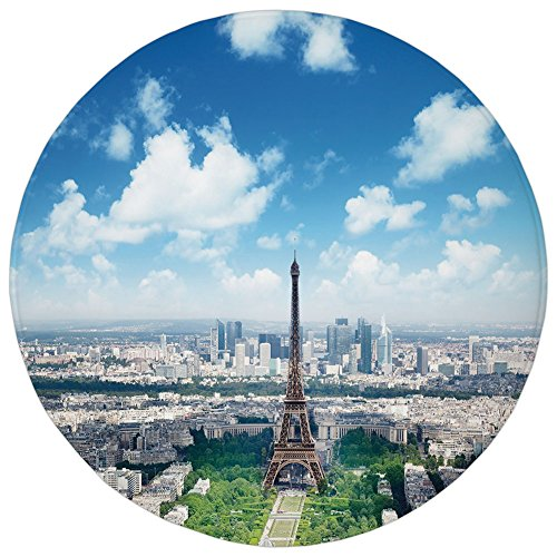 Round Rug Mat Carpet,Paris Decor,Aerial View of Eiffel Tower Skyline Cloudy Day Famous French Town City Picture Decorative,Multicolor,Flannel Microfiber Non-slip Soft Absorbent,for Kitchen Floor Bathr ()