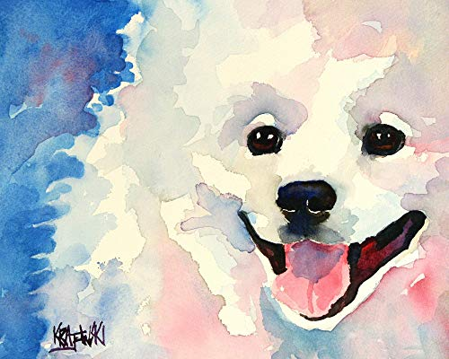 American Eskimo Dog Art Print | Eskie Gifts | From Original Watercolor Painting by Ron Krajewski | Hand Signed in 8x10