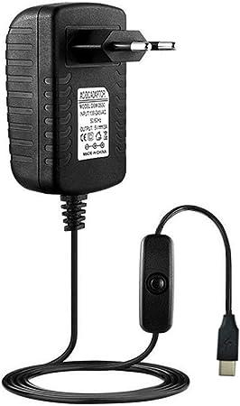 DC Cargador de Pared Adaptador Cable de Fuente de alimentaci/ón para Raspberry Pi 4 Modelo B Cable de Adaptador de Enchufe de alimentaci/ón Zinniaya 5V 3A Tipo-C USB AC