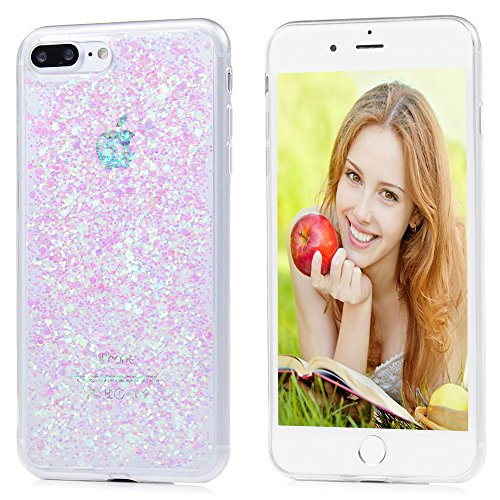 Mavis's Diary Coque iPhone 7 Plus TPU Silicone Souple Bling Rose Housse de Protection Étui Téléphone Portable Phone Case Cover+Chiffon