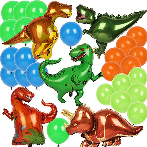 Dinosaur Balloons - Triceratops T-rex Raptor Allosaurus - 5 Foil Dinosaur Balloons Inflatable Party Supplies and Decorations for Kids -