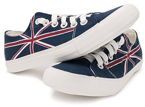 Ann Arbor T-shirt Co. Union Jack   United Kingdom British Flag Gym Fun Tennis Shoe, UK Britain Sneaker Navy