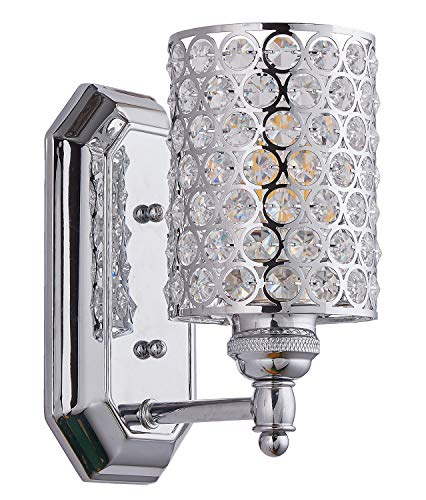 Crystal Wall Light Fixture - Doraimi 1 Light Crystal Plug in Wall Sconce Lighting with Plating Chrome Finish,Modern Concise Style Wall Light Fixture with Polyhedral, Bedroom, Bathroom Crystal Light fixtures LED Bulb(not Include)