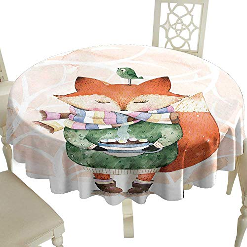 fabric tablecloth 36 Inch Watercolor,Cute Little Fox Wants to Drink Coffee with Its Bird Friend,Light Pink Jade Green Orange Great for,family,outdoors,restaurant,Party,Wedding,Coffee Bar,traveling,Par
