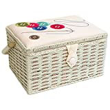 Sewing Online FM-001 | Buttons, Needle & Thread Embroidered Sewing Box | Beige