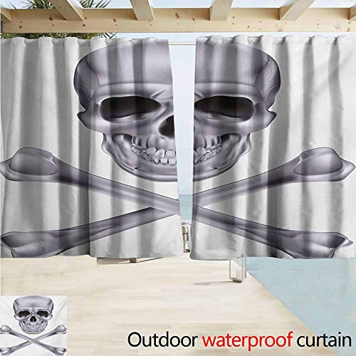 Exterior/Outside Curtains,Grey Vivid Skull and Crossed Bones Dangerous Scary Dead Skeleton Evil Face Halloween Theme,Rod Pocket Energy Efficient Thermal Insulated,W72x72L Inches,Dimgray ()