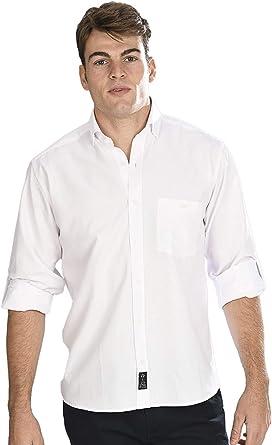 Camisa Oxford Manga Larga de Hombre en Blanco: Amazon.es: Ropa y accesorios