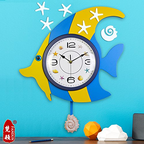 Children Room Eastern Mediterranean Style Rudders Creative Personality When Fish Swinging Clock Mute Wall Clock Diy Clock Clock,20 Inch,Ka020 Blue